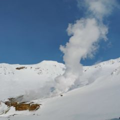 Fumaroles inside the crater of Mutnovskiy volcano. And you can ski in!