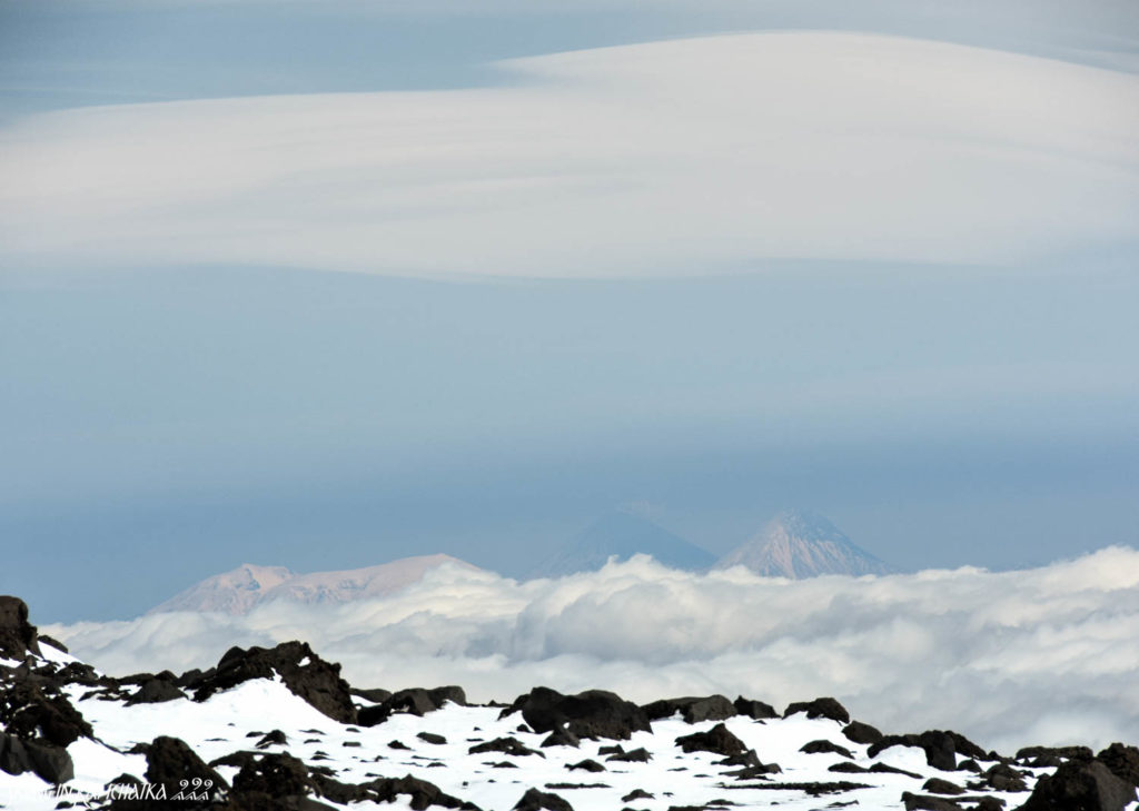 View on the Kluchevskaya group of volcanoes, four 4000-meters peaks.