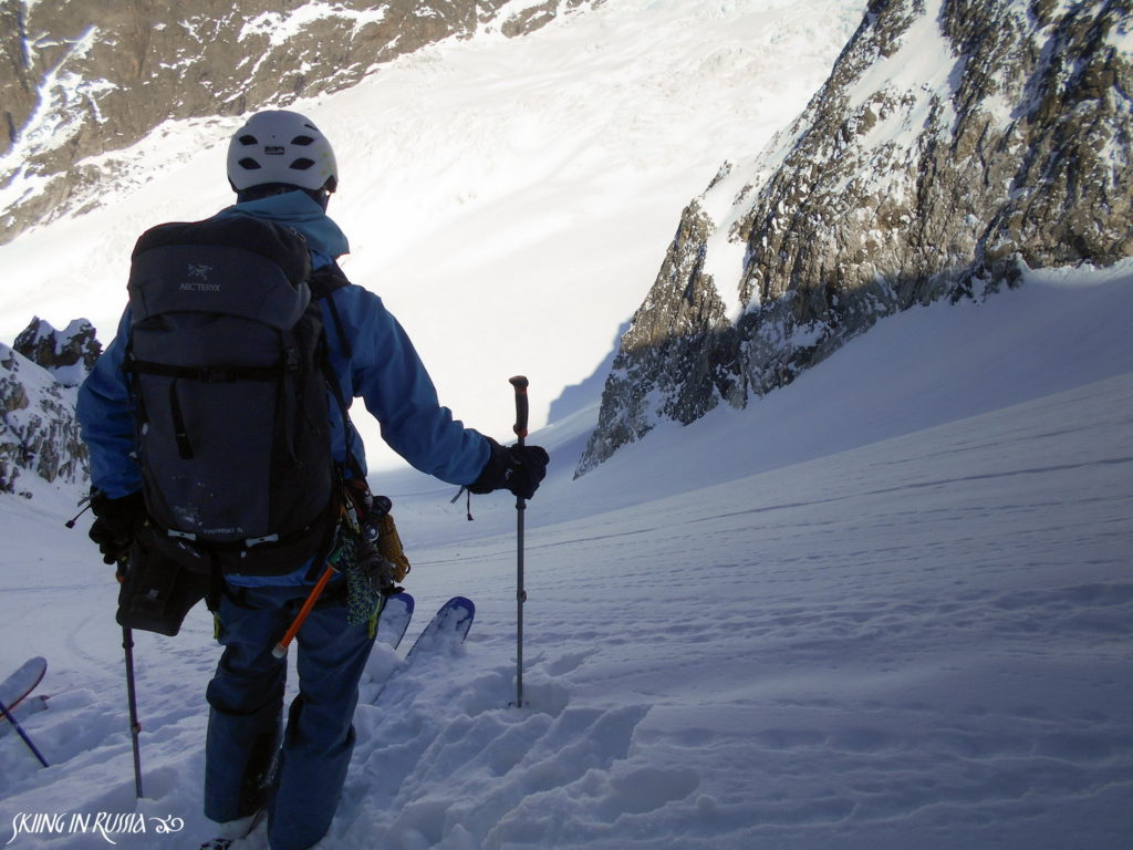 Steep skiing on Kasebi glacier